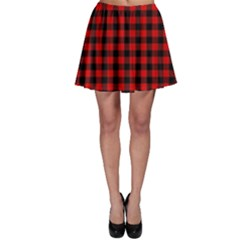 Lumberjack Plaid Fabric Pattern Red Black Skater Skirt by EDDArt