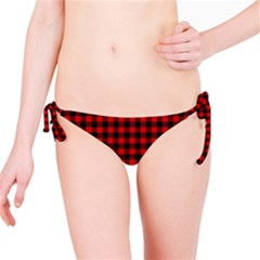 Lumberjack Plaid Fabric Pattern Red Black Bikini Bottom