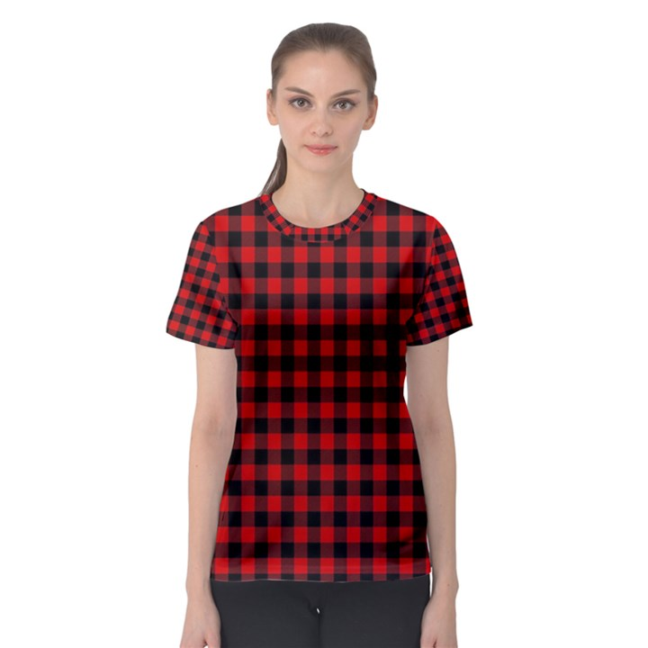 Lumberjack Plaid Fabric Pattern Red Black Women s Sport Mesh Tee
