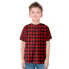 Lumberjack Plaid Fabric Pattern Red Black Kids  Cotton Tee