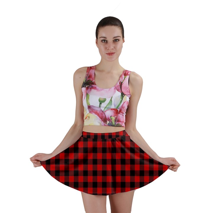 Lumberjack Plaid Fabric Pattern Red Black Mini Skirt