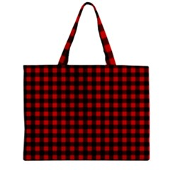 Lumberjack Plaid Fabric Pattern Red Black Mini Tote Bag
