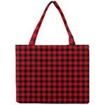 Lumberjack Plaid Fabric Pattern Red Black Mini Tote Bag