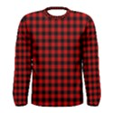 Lumberjack Plaid Fabric Pattern Red Black Men s Long Sleeve Tee View1