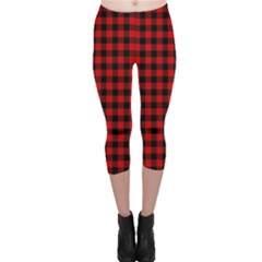 Lumberjack Plaid Fabric Pattern Red Black Capri Leggings  by EDDArt