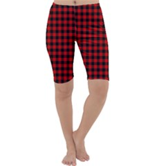 Lumberjack Plaid Fabric Pattern Red Black Cropped Leggings  by EDDArt