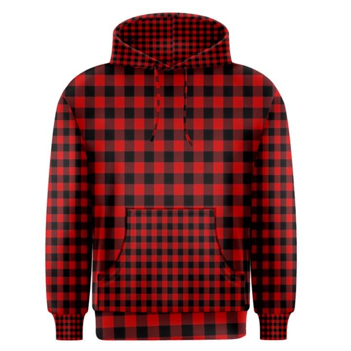 Lumberjack Plaid Fabric Pattern Red Black Men s Pullover Hoodie