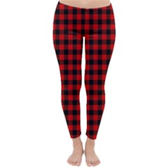 Lumberjack Plaid Fabric Pattern Red Black Winter Leggings  by EDDArt