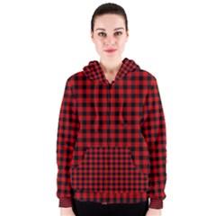 Lumberjack Plaid Fabric Pattern Red Black Women s Zipper Hoodie