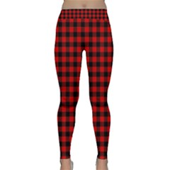 Lumberjack Plaid Fabric Pattern Red Black Yoga Leggings  by EDDArt