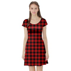 Lumberjack Plaid Fabric Pattern Red Black Short Sleeve Skater Dress by EDDArt