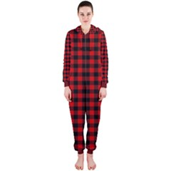 Lumberjack Plaid Fabric Pattern Red Black Hooded Jumpsuit (ladies)