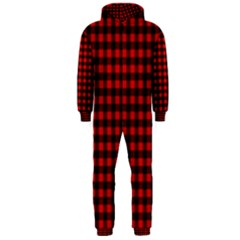 Lumberjack Plaid Fabric Pattern Red Black Hooded Jumpsuit (men)  by EDDArt