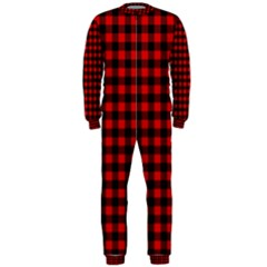 Lumberjack Plaid Fabric Pattern Red Black Onepiece Jumpsuit (men)  by EDDArt