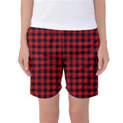Lumberjack Plaid Fabric Pattern Red Black Women s Basketball Shorts