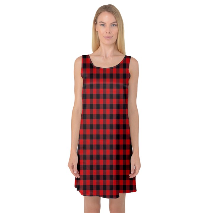 Lumberjack Plaid Fabric Pattern Red Black Sleeveless Satin Nightdress