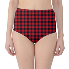 Lumberjack Plaid Fabric Pattern Red Black High Waist Bikini Bottoms