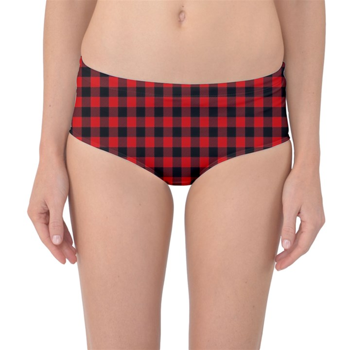 Lumberjack Plaid Fabric Pattern Red Black Mid-Waist Bikini Bottoms
