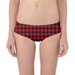 Lumberjack Plaid Fabric Pattern Red Black Classic Bikini Bottoms by EDDArt