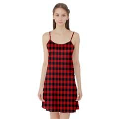 Lumberjack Plaid Fabric Pattern Red Black Satin Night Slip