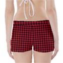 Lumberjack Plaid Fabric Pattern Red Black Boyleg Bikini Wrap Bottoms View2