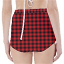 Lumberjack Plaid Fabric Pattern Red Black High-Waisted Bikini Bottoms View2
