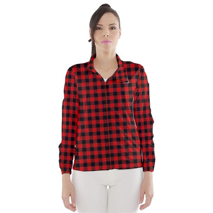 Lumberjack Plaid Fabric Pattern Red Black Wind Breaker (Women)