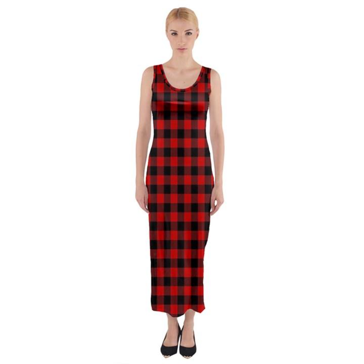 Lumberjack Plaid Fabric Pattern Red Black Fitted Maxi Dress