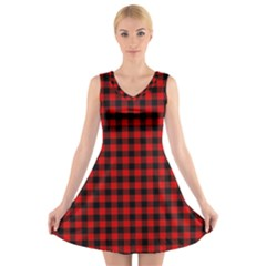 Lumberjack Plaid Fabric Pattern Red Black V Neck Sleeveless Skater Dress