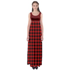 Lumberjack Plaid Fabric Pattern Red Black Empire Waist Maxi Dress by EDDArt