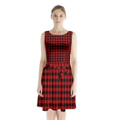 Lumberjack Plaid Fabric Pattern Red Black Sleeveless Chiffon Waist Tie Dress by EDDArt