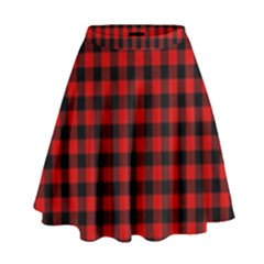 Lumberjack Plaid Fabric Pattern Red Black High Waist Skirt by EDDArt