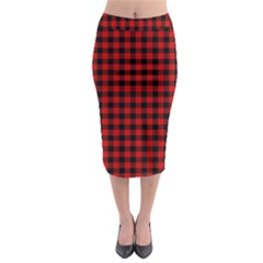 Lumberjack Plaid Fabric Pattern Red Black Midi Pencil Skirt by EDDArt