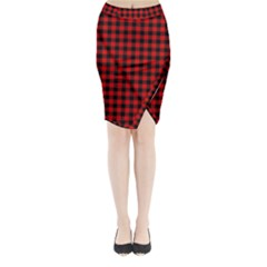 Lumberjack Plaid Fabric Pattern Red Black Midi Wrap Pencil Skirt