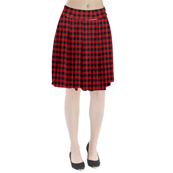 Lumberjack Plaid Fabric Pattern Red Black Pleated Skirt