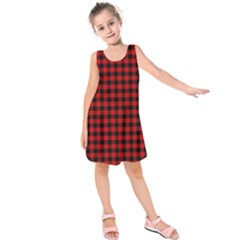 Lumberjack Plaid Fabric Pattern Red Black Kids  Sleeveless Dress