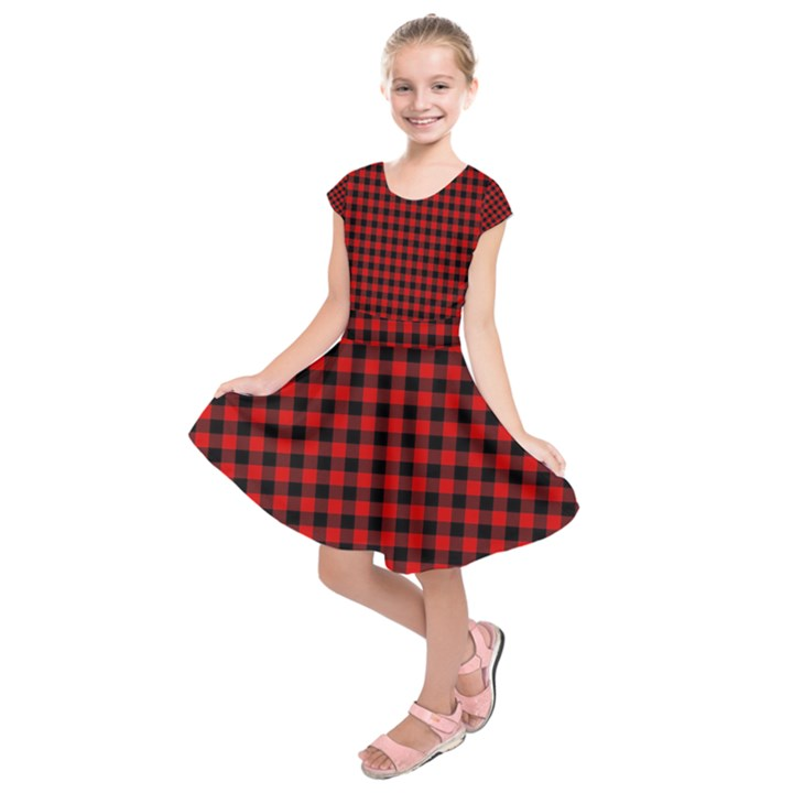Lumberjack Plaid Fabric Pattern Red Black Kids  Short Sleeve Dress