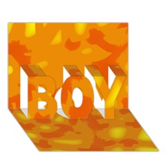 Orange Decor Boy 3d Greeting Card (7x5)