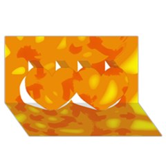 Orange Decor Twin Hearts 3d Greeting Card (8x4) by Valentinaart