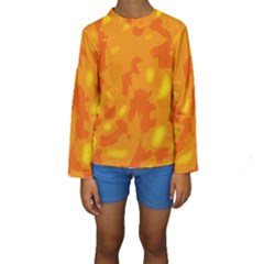 Orange Decor Kids  Long Sleeve Swimwear by Valentinaart