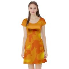Orange Decor Short Sleeve Skater Dress
