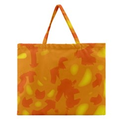 Orange Decor Zipper Large Tote Bag
