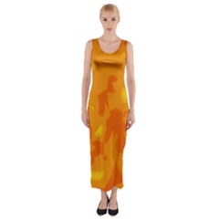 Orange Decor Fitted Maxi Dress