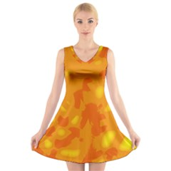 Orange Decor V Neck Sleeveless Skater Dress by Valentinaart