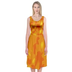 Orange Decor Midi Sleeveless Dress by Valentinaart