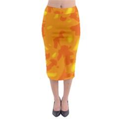 Orange Decor Midi Pencil Skirt