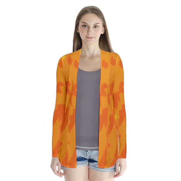Orange decor Drape Collar Cardigan