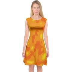 Orange decor Capsleeve Midi Dress