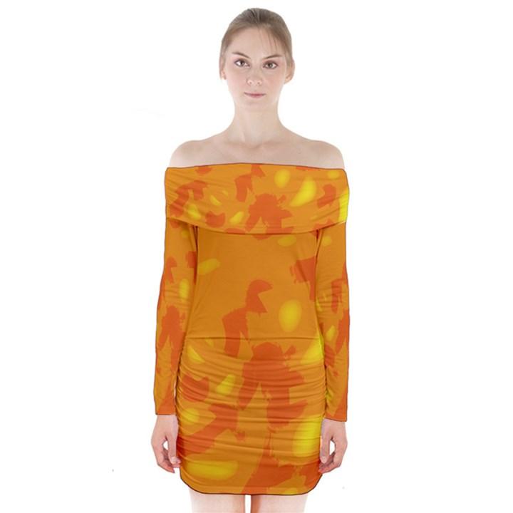 Orange decor Long Sleeve Off Shoulder Dress