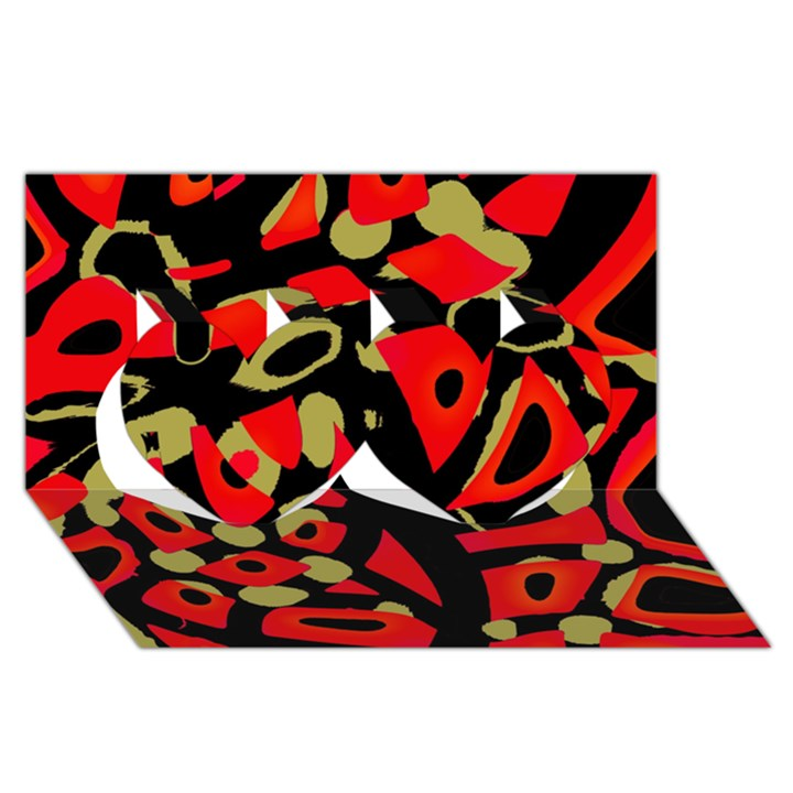 Red artistic design Twin Hearts 3D Greeting Card (8x4)